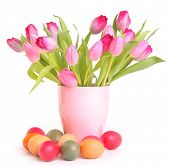 fresh pink tulips and easter eggs