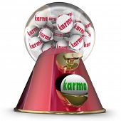 stock photo of karma  - Karma Word Gum Ball Machine Good Luck Fate Destiny - JPG