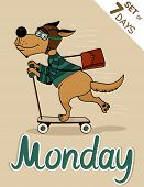 picture of weekdays  - Monday dog weekdays hipster vector illustration calendar set - JPG