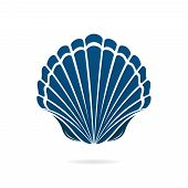stock photo of scallop shell  - Scallop seashell of mollusks icon sign isolated vector illustration - JPG