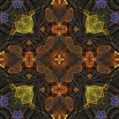art nouveau ornamental vintage pattern in yellow, violet, black and brown colors