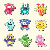 picture of monster symbol  - Set of the cartoon monsters symbols isolated vector illustration - JPG