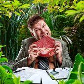 stock photo of pervert  - Predator businessman - JPG