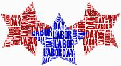 image of labourer  - Word cloud labour day related in shape of stars - JPG