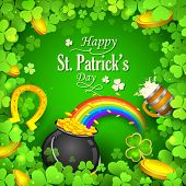 image of saint patrick  - illustration of Saint Patricks Day background with clover leaf - JPG