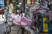 pic of carousel horse  - Carousel Horses at an amusement park during the day - JPG