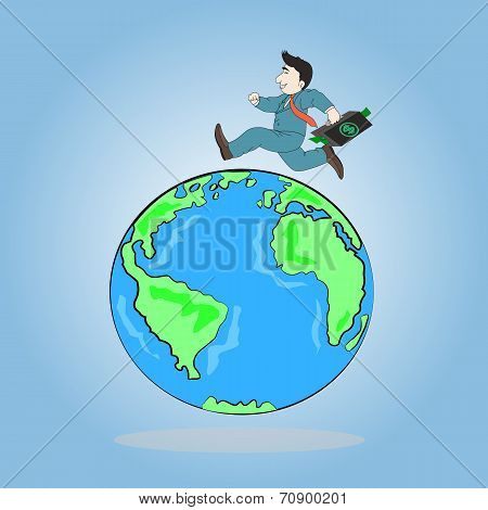 Businessman Carrying Briefcase Run Around A World