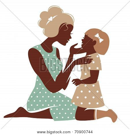 Card of Happy Mother??s Day. Beautiful mother silhouette