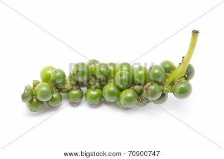 Fresh Green Pepper Isolated On White Background.
