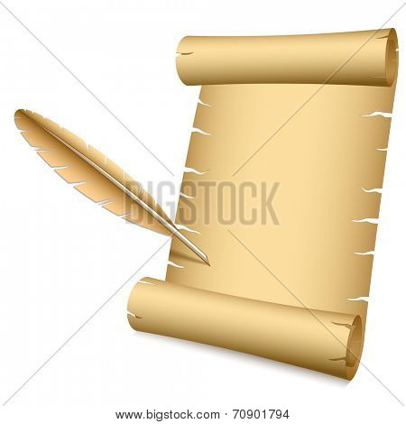 Ancient scroll and writing feather vector illustration with copy space.