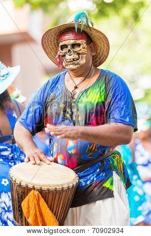 Victoria, Seychelles - April 26, 2014: Local Men In Death Mask  At The Carnival International De Vic