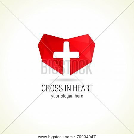 Cross in heart logo