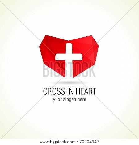 Cross in heart logo