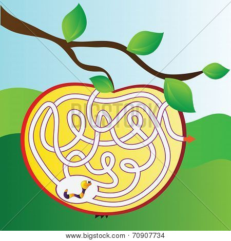 Apple Maze With Worm