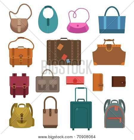 Bags colored icons set