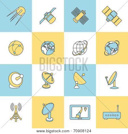 Satellite Flat Line Icons