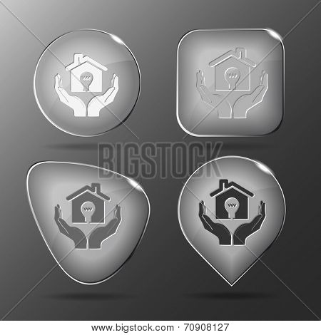 economy in hands. Glass buttons. Vector illustration.