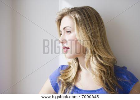 Beautiful Girl Looking Ut Window