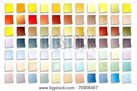 Set of 77 colored stick notes