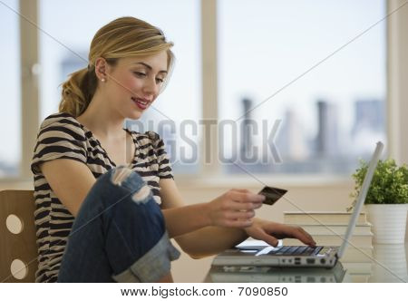 Female Shopping Online From Home