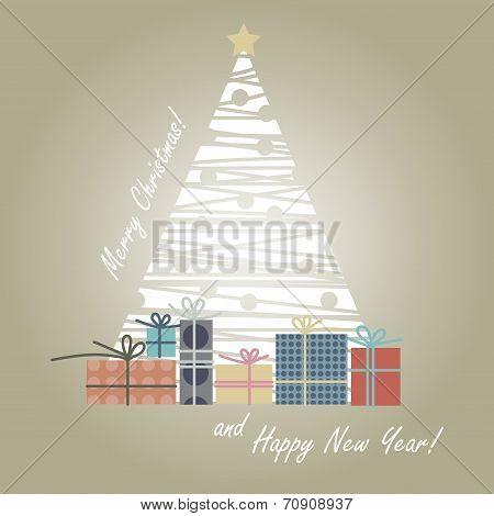 Christmas Tree - Snowflakes-gifts-greeting.eps