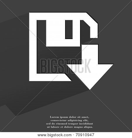 floppy disk download. Flat modern web button with long shadow and space for your text
