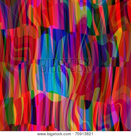 art abstract colorful chaotic waves seamless pattern; background in bright red, blue and gold colors