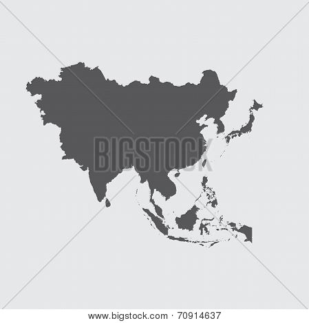 Grey Illustration Of The Outline Of The Continent Of Asia