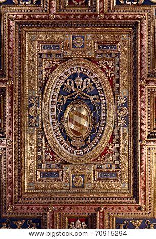 Fragment Of Ceiling  In The Loggia Delle Benedizioni, Rome, Italy