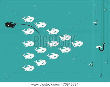 Vector Image Of Fish And Hook And Bait.