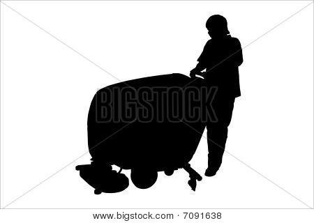 Vektor-Illustration der Reiniger mit Boden Polieren Maschine