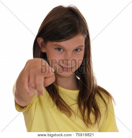 Young Girl Pointing With Her Finger I Want You