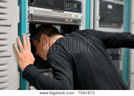Network Technician Is Working