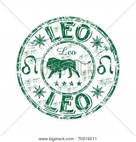 Leo grunge rubber stamp