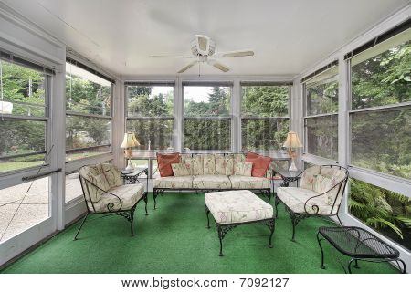 Porch With Green Flooring