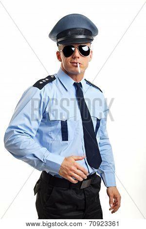 Smoking policeman