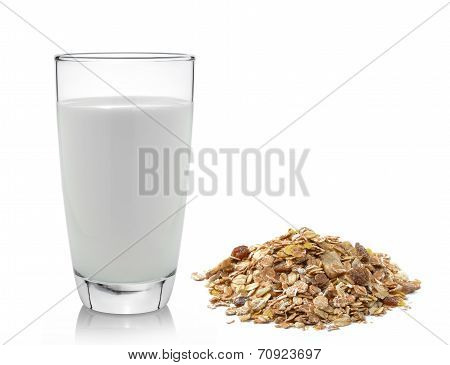 Fresh Milk In The Glass And Muesli Breakfast Placed On White Background