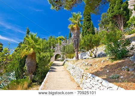 Historic Hvar Fortification Wall In Nature
