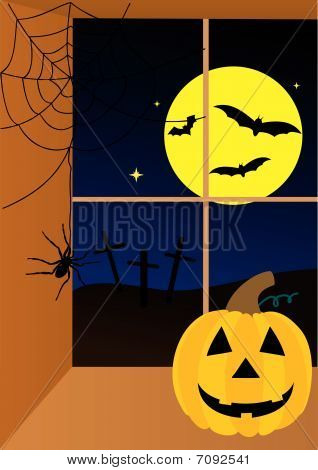 Halloween scene with moon, pumpkin and spider