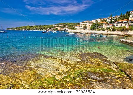 Turquoise Stone Beach On Hvar Island