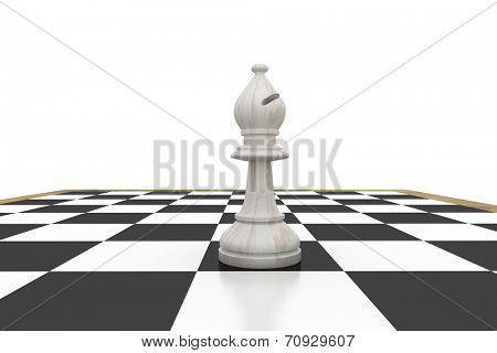 White bishop on chess board on white background