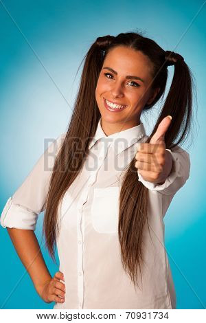 Beautiful Hispanic Business Woman Gesturing Success Shownig Thumb Up