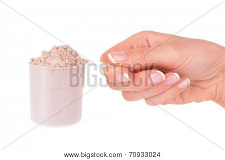 Female hand holding scoop with whey protein powder isolated on white
