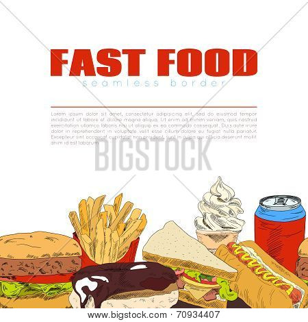 Fast food infographic seamless border banner