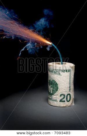 Dynamite Cash With Lit Fuse