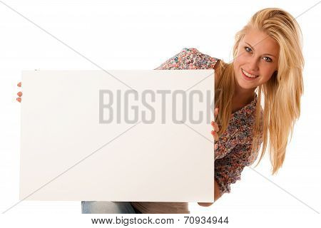 Nde Woman Holding A Blank White Board In Her Hands For Promotional Text Or Banner Isolated Over Whit