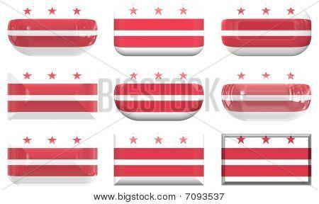 Nine Glass Buttons Of The Flag Of Washington Dc
