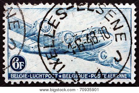 Postage Stamp Belgium 1946 Dc-4 Skymaster, Plane