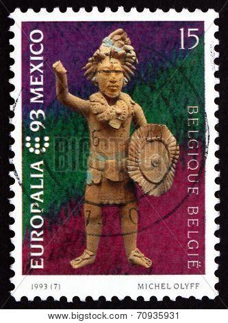 Postage Stamp Belgium 1993 Mayan Statuette