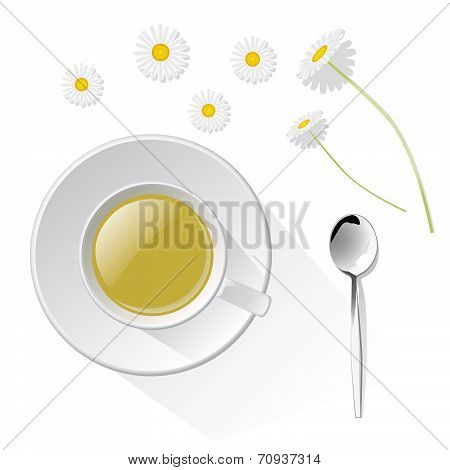 Herbal Tea With Camomile, Isolated On White Background
